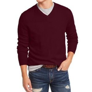 Club Room Luxury Men's Cashmere V-neck Sweater Red